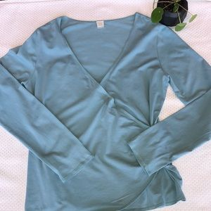 Garnet Hill Faux Wrap Stretchy Long Sleeve Top